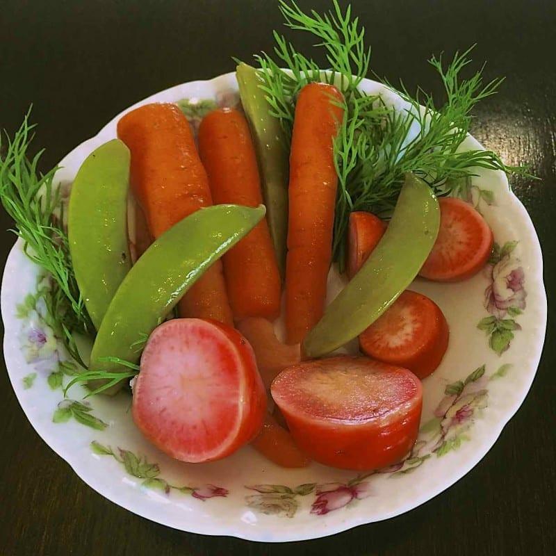 Mrs. Wheelbarrow's Sugar Snap, Carrot, and Radish Refrigerator Pickles