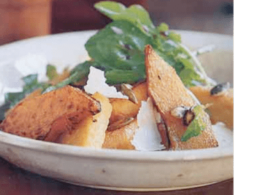 Warm Pumpkin Salad with Polenta & Candied Pumpkin Seeds